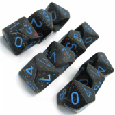 Black & Blue 'Blue Stars' Speckled D10 Ten Sided Dice Set